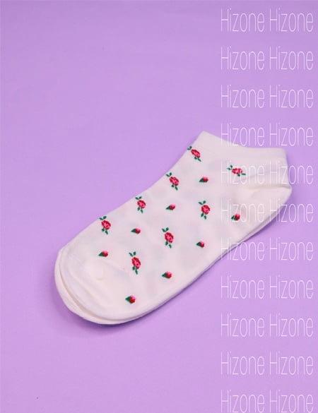 جوراب نخی طرح گل رز