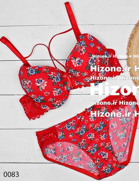 ست لباس زیر اسفنجی مدل گل اندام (قرمز)