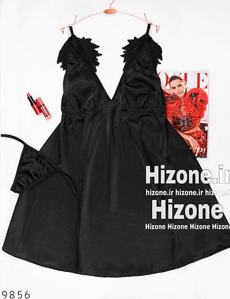 لباس خواب ساتن آنجلیکا (مشکی)