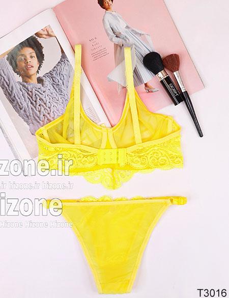 ست لباس زیر مدل گل شب بو (زرد)