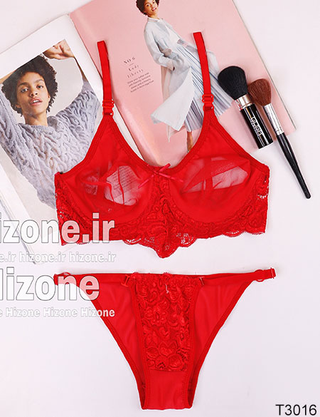ست لباس زیر مدل گل شب بو (قرمز)