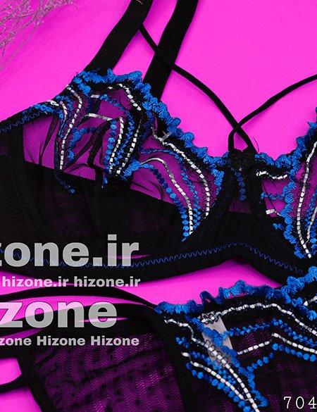 ست لباس زیر زنانه مدل گل رز آبی