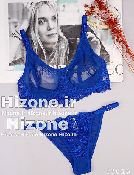 ست لباس زیر مدل گل شب بو (آبی کاربنی)