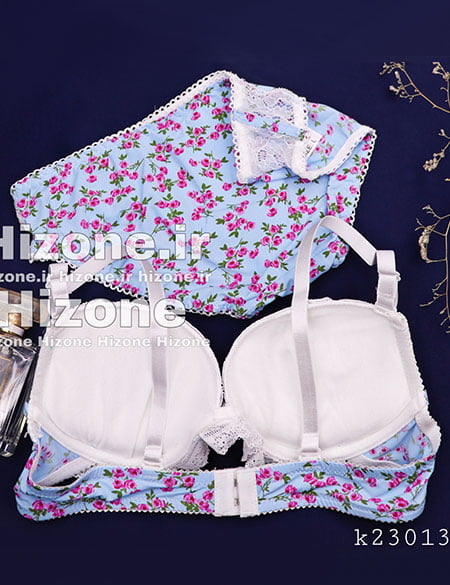 ست لباس زیر اسفنجی مدل بله برون (سفید آبی)