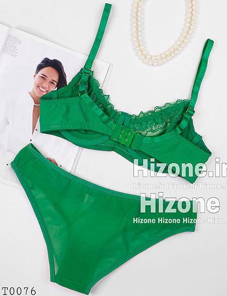 ست لباس زیر مدل گل نقره ای (سبز)